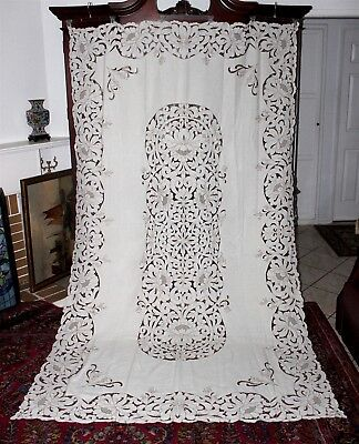 ORNATE MADEIRA LINEN RICHELIEU EMBROIDERY NEEDLEWORK CUTWORK TABLECLOTH 112x64""