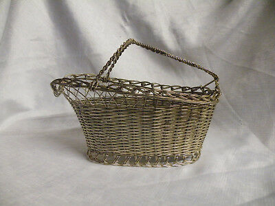 Vintage Silver Plated Wine Bottle Basket Carrier Woven Wire