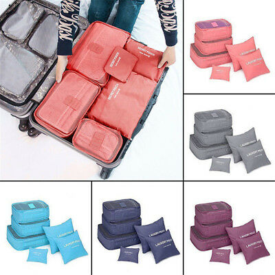 6Pcs Travel Clothes Waterproof Storage Bags Luggage Organizer Pouch Packing Cube