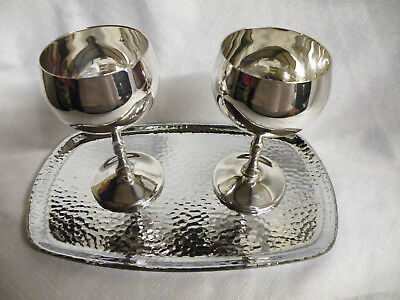 Vintage Silver Plated 2 Wine Goblets & Tray
