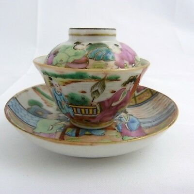 Chinese Famille Rose Canton  Porcelain Tea Bowl, Cover And Stand, 19Th Century