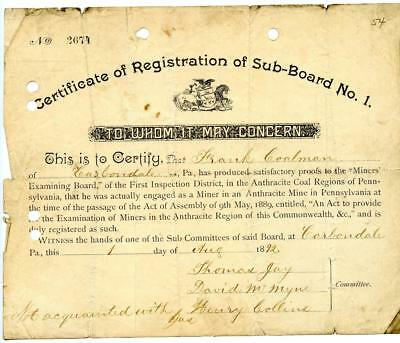 1892 Anthracite Coal Miner Certificate of Competency Carbondale Pennsylvania