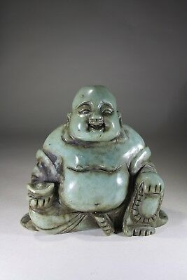 Vintage Chinese Carved Green Soapstone Buddha No:2