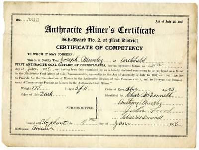 1928 Anthracite Coal Miner Certificate of Competency Olyphant Pennsylvania