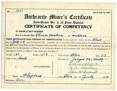 1929 Anthracite Coal Miner Certificate of Competency Olyphant Pennsylvania