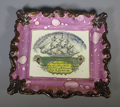 "Antique Sunderland Pink Lustre Earthenware Ship Plaque ""may Peace And Plenty..."""