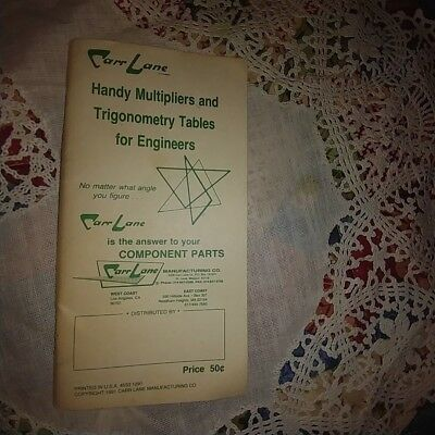 Vintage Carr Lane Handy Multipliers & Trigonometry Tables For Engineers