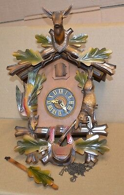 Vintage Colorful Hunters Case 30 Hour Cuckoo Clock for Restoration