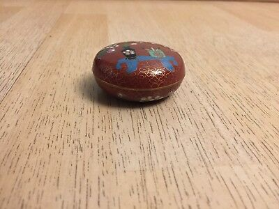 Cloisonne Small Round Box Red Tone With Lid NOS Home Decor Collectible 4653