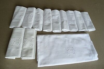 Antique French Hand Embroidered TD monogrammed Damask Tablecloth, 9 napkins