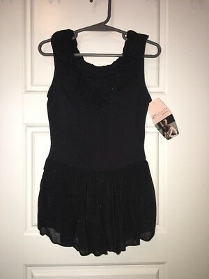 NWT Freestyle Danskin Girls Size Medium M 7-8 Black Leotard Sparkle Skirt Dance
