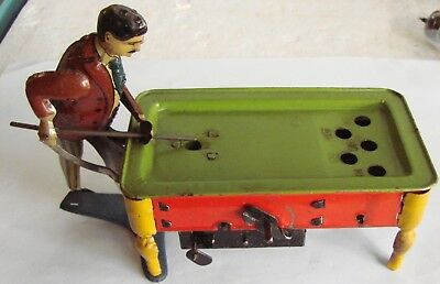 Rare Antique Billiard Player Vintage Tin Wind Up Toy Kico Germany 1920?