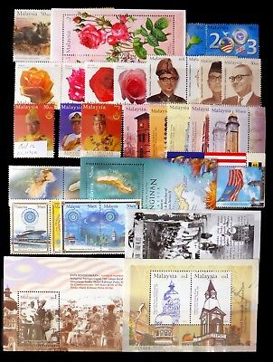 MALAYSIA 2003 - 12 Stamps 9 M/Sheets As Described U/M with SG1130a 2 Pages NJ484