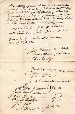 1820, Shrewsbury, Vermont, Town founders, Tavern Keepers licence signed