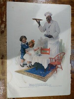 1917 Cream Of Wheat Advertisement With Rastus And Two Children Being Served