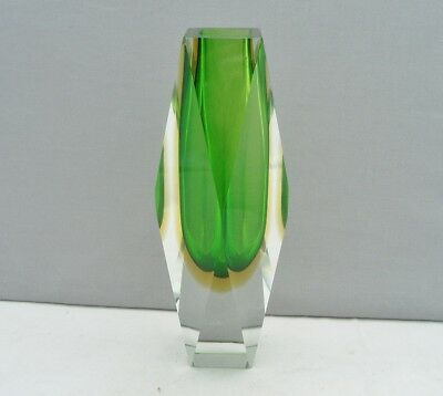 Murano Glass Italy Sommerso Double Cased Facet Cut Vase Green & Yellow