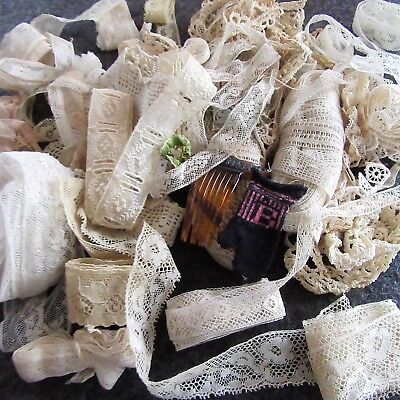 Antique French Valenciennes Insertion HEM Beading LACE Ribbon flower Lot ROOSTER
