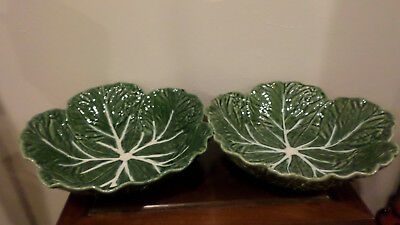 """Lot of 2 Large Williams Sonoma Serving Bowl Portugal Cabbage 11 1/2"""""""