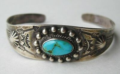 Vtg Native American Navajo Indian Sterling Silver Blue Turquoise Cuff Bracelet