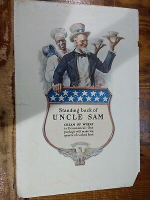 1918 Cream Of Wheat Advertisement With Uncle Sam and Rastus