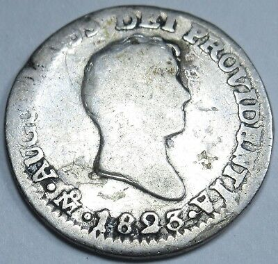 1823 JM Mexico Empire Of Iturbide Silver Spanish 1/2 Reales Real Antique Coin
