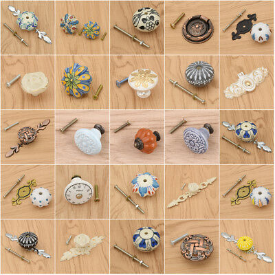 Various Styles Ceramic Cabinet Pulls Handle Alloy Furniture Closet Drawer Knobs