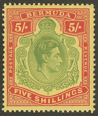 Bermuda 1949 KGVI 5sh Yellow-Green + Red on Pale Yellow p13 Mint SG118f cat £35