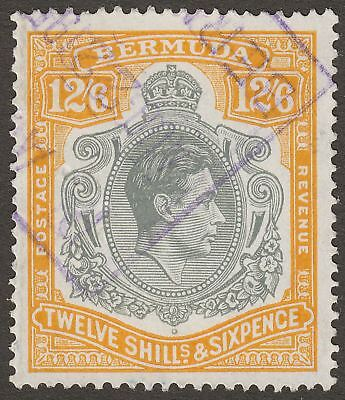 Bermuda 1950 KGVI 12sh6d Grey + Orange-Yellow p13 Fiscally Used SG120e boxed can