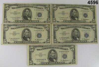 Lot Of Five 1953 A $5 Silver Certificates Nice Very Good To Fine Condition #4596