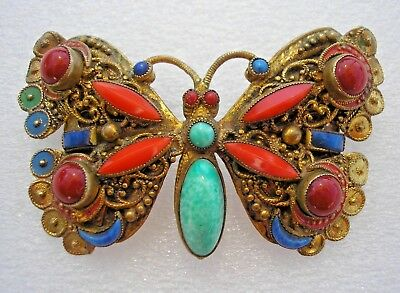 Beautiful rare Czech vintage Art Deco Butterfly brooch by Neiger Brothers