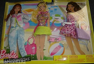 Barbie Doll Fashionistas Clothing Beach Pack 3 Fashions Outfits new