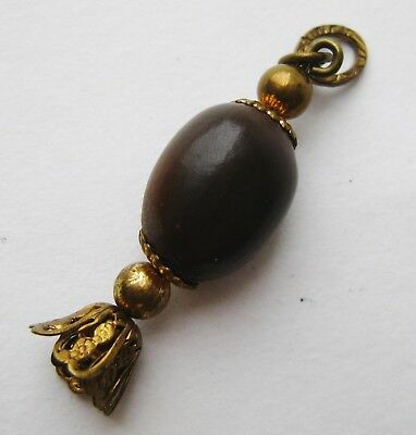 Fine Old Chinese Wood Seed Bead Necklace Pendant Toggle Amulet Talisman