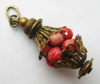 Fine Old Chinese Red Carved Beads Necklace Pendant Toggle Amulet Talisman