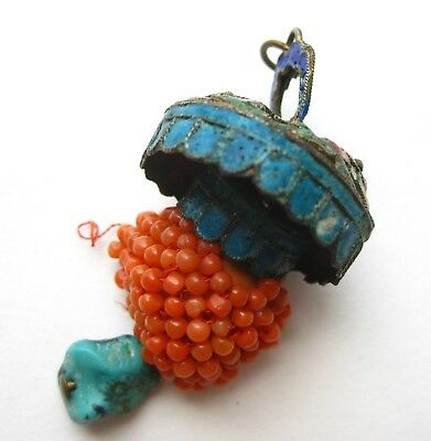 Fine Chinese Sterling Silver Cloisonne Enamel Coral Bead Necklace Pendant Toggle