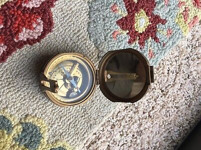RARE VINTAGE NATURAL SINE BRASS COMPASS WITH LEVEL--INDIA SINE TABLE Estate