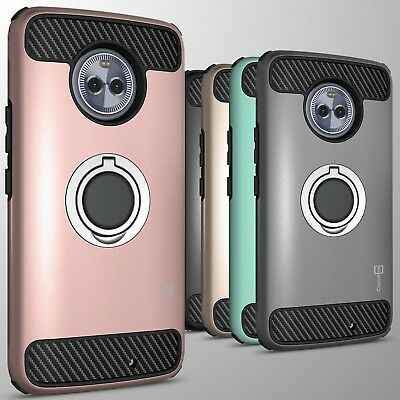 For Motorola Moto X4 (X 4th Gen) Hybrid Armor Protective Ring Cover Hard Case