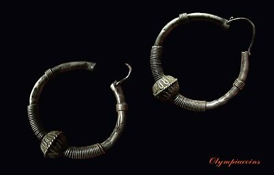 ** EXTRAORDINARY ** pair of Ancient Roman or Byzantine BIG Silver EARRINGS