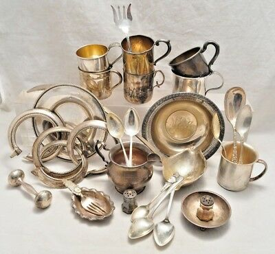 Lot of Solid Sterling Silver Scrap 1295 grams Cups Spoons Misc