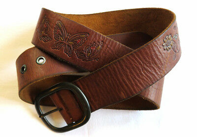 LEATHER BELT Hollister TOOLED PAINTED Butterfly Flower RETRO VINTAGE Hippy L