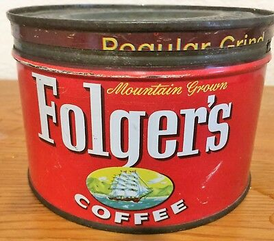 Vintage Folgers Red Coffee Can with Lid
