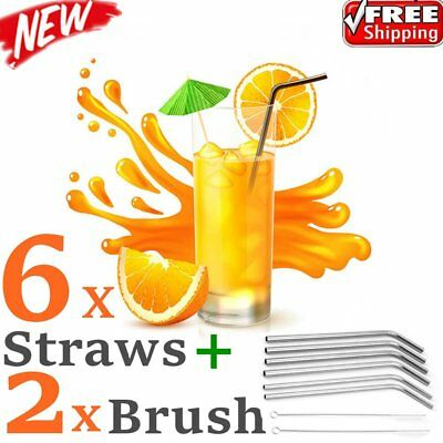 6x Stainless Steel Metal Drinking Straw Straws Bent Reusable Washable+2 Brush GF