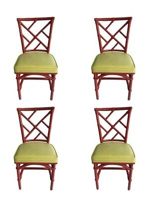 Mid Century Modern Red Bamboo Chinese Chippendale Dining Room Set Of Four Chairs