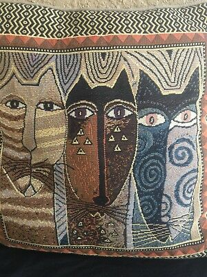 Laurel Burch Natural Colors Native Cats Decorative Tapestry Throw Pillow Nice