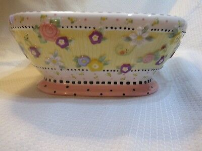 """2001 Mary Engelbreit Meadow Large Hostess Square Bowl 10"""""""