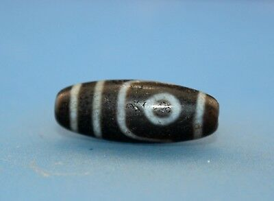 28*11 mm Antique dzi Agate old 2 eyes Bead from Tibet **Free shipping**