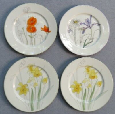 Set 4 Block Spal Watercolors Salad Plates : Daffodil, Poppy, Hillside