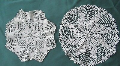 2 Vintage WHITE COTTON DOILIES 1 knitted, 1 crocheted (from Europe) clean in EC