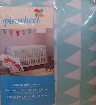 brand new ! Pinwheel by  Nojo STEP RIGHT UP Print 4 -Piece Crib Bumper