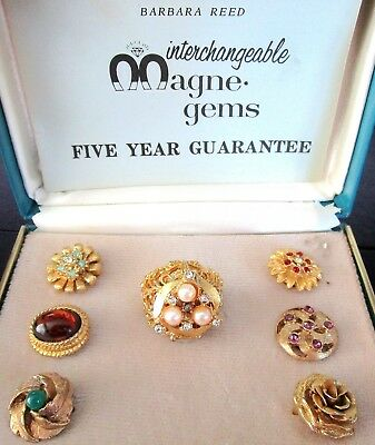 BARBARA REED Vintage Interchangeable Magne-Gems Ring In Original Box!!