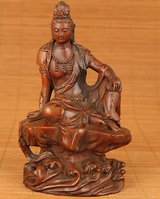 Rare Chinese Old Boxwood Hand Carved free Kwan-yin Figure Statue home decoration